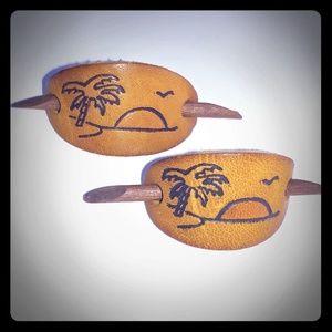 Vintage leather sunrise island barrettes